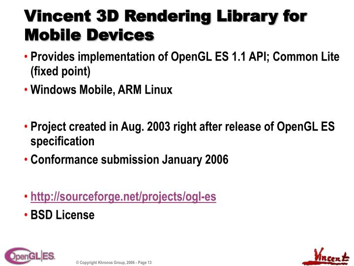 Vincent 3D Rendering Library for Mobile Devices