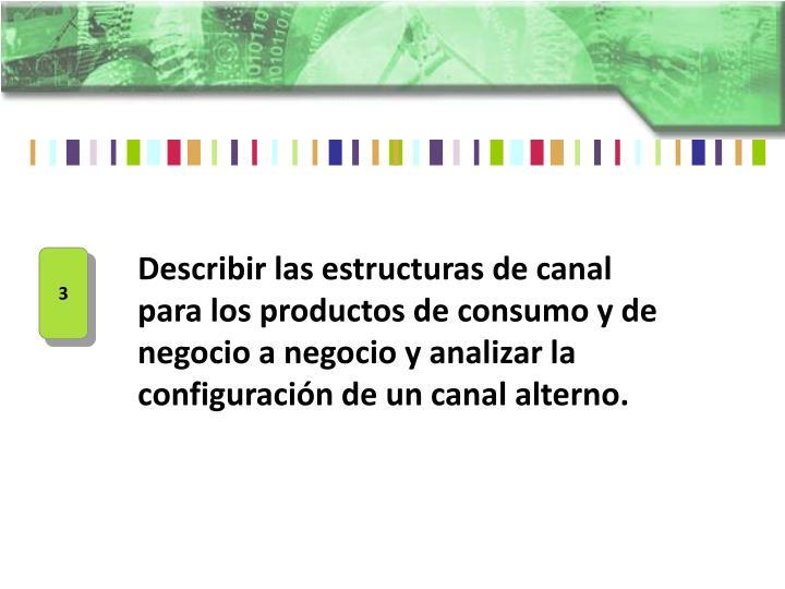 Describir las estructuras de canal