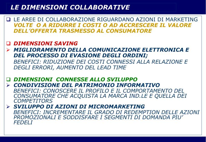 LE DIMENSIONI COLLABORATIVE