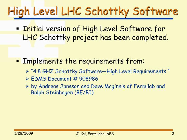 High Level LHC Schottky Software
