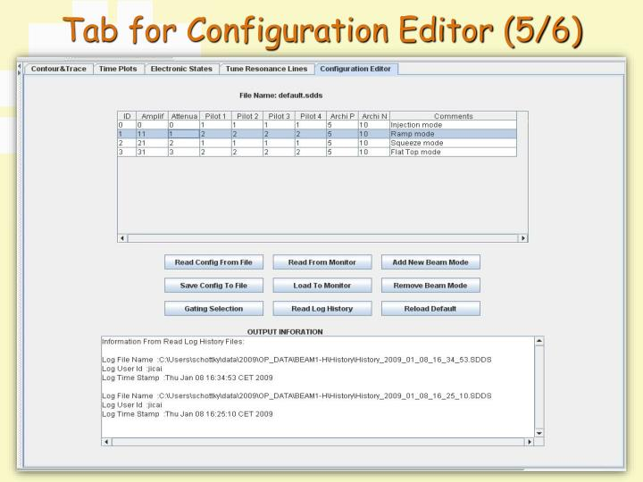 Tab for Configuration Editor (5/6)