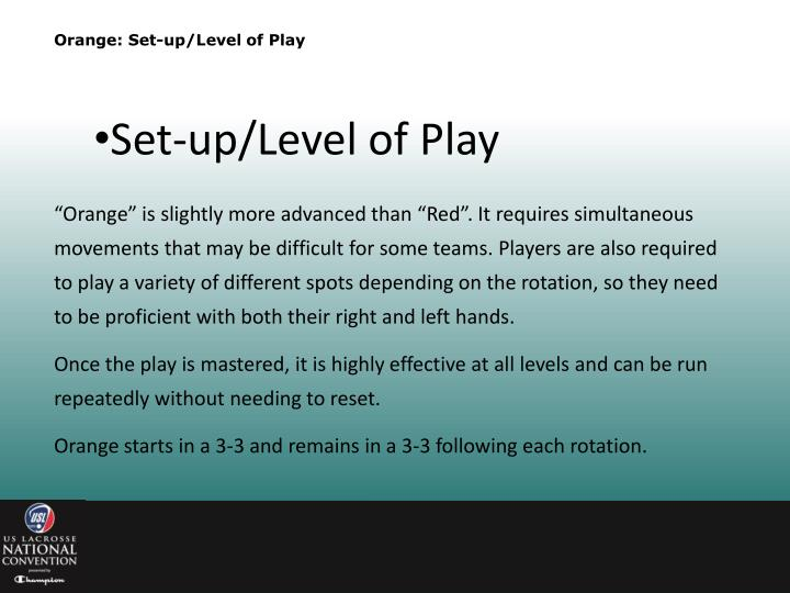 Orange: Set-up/Level of Play