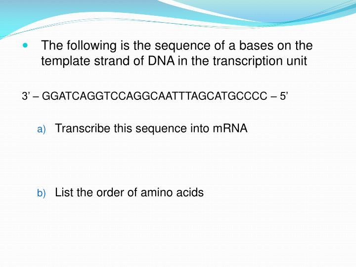 The following is the sequence of a bases on the template strand of DNA in the transcription unit