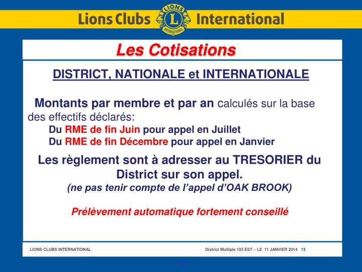 DISTRICT, NATIONALE et INTERNATIONALE