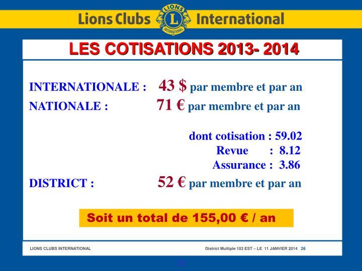 LES COTISATIONS 2013- 2014
