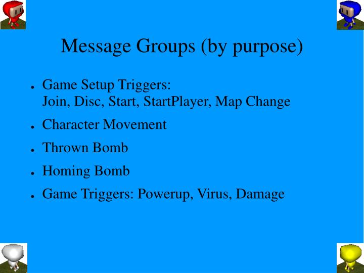 Message Groups (by purpose)