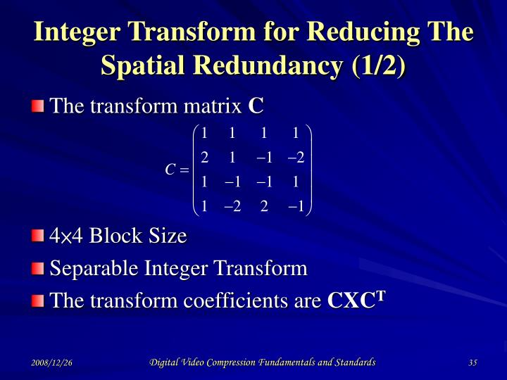 Integer Transform for Reducing The Spatial Redundancy (1/2)