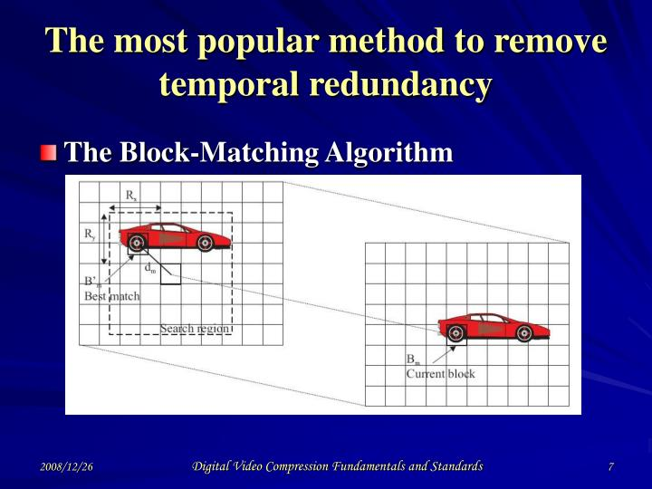 The most popular method to remove temporal redundancy
