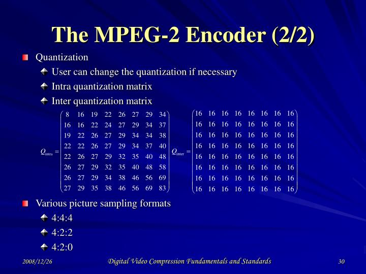 The MPEG-2 Encoder (2/2)