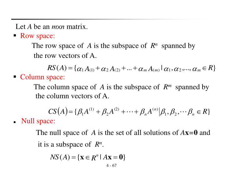 Column space: