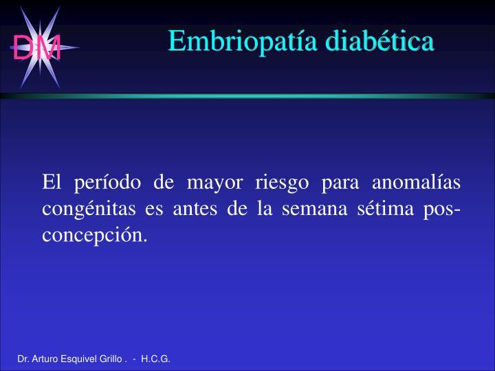 Embriopatía diabética
