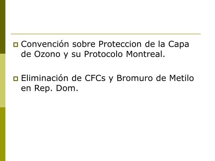 Convención sobre Proteccion de la Capa de Ozono y su Protocolo Montreal.