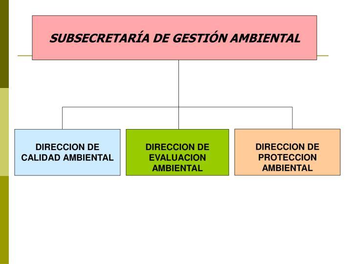 SUBSECRETARÍA DE GESTIÓN AMBIENTAL