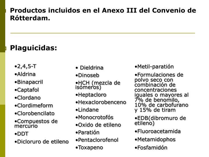 Productos incluidos en el Anexo III del Convenio de Rótterdam.