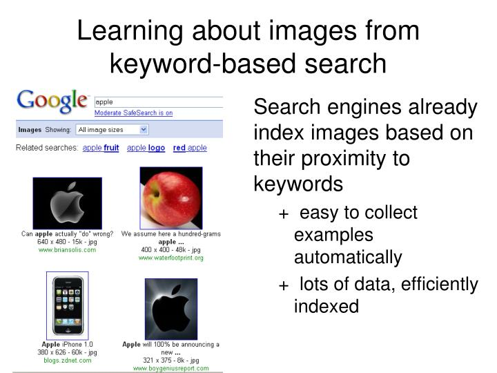 Learning about images from keyword-based search