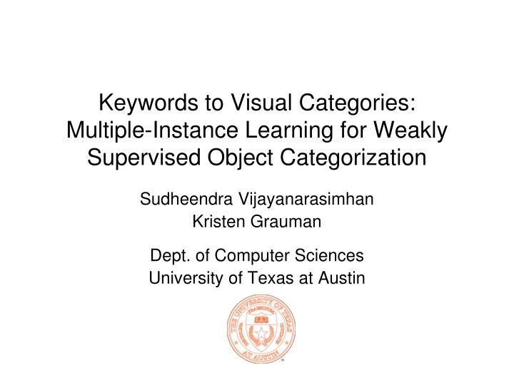 Keywords to Visual Categories: