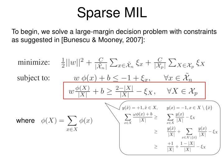 Sparse MIL