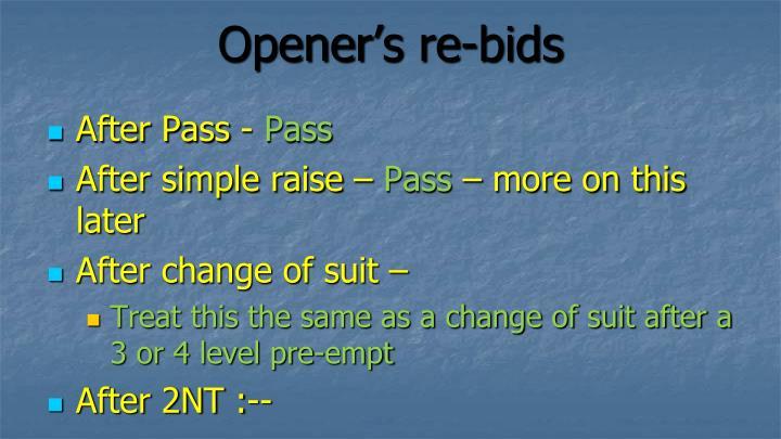 Opener's re-bids