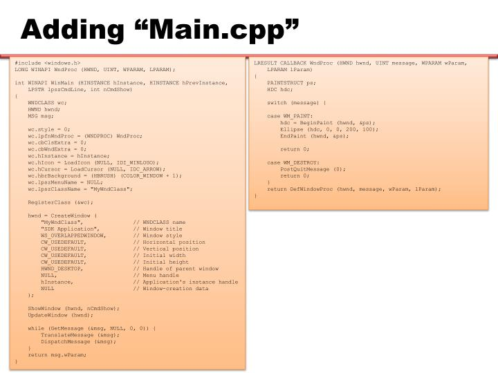 "Adding ""Main.cpp"""