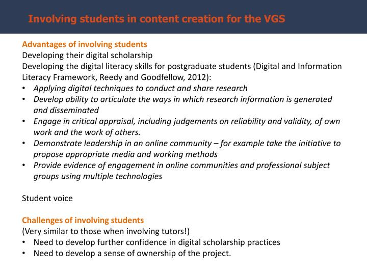 Involving students in content