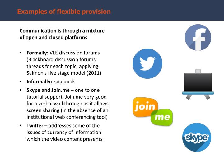 Examples of flexible provision