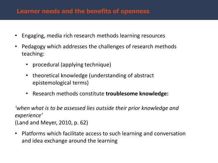 Learner needs and the benefits of openness