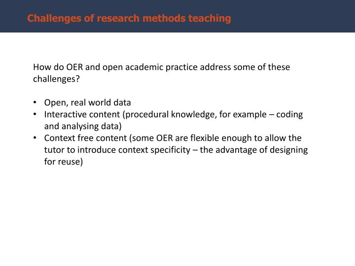 Challenges of research methods teaching