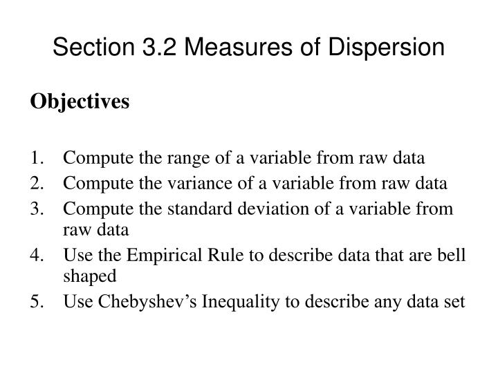 Section 3 2 measures of dispersion