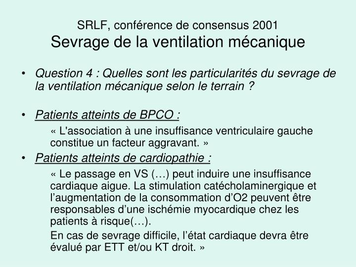 SRLF, conférence de consensus 2001