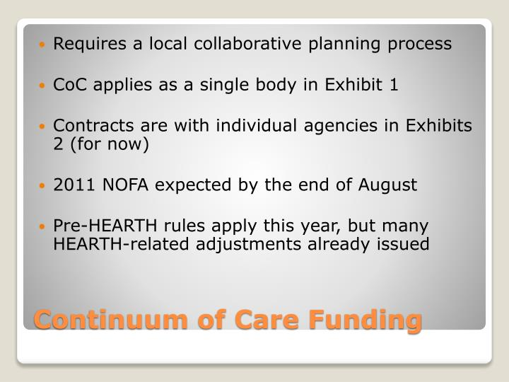 Continuum of care funding