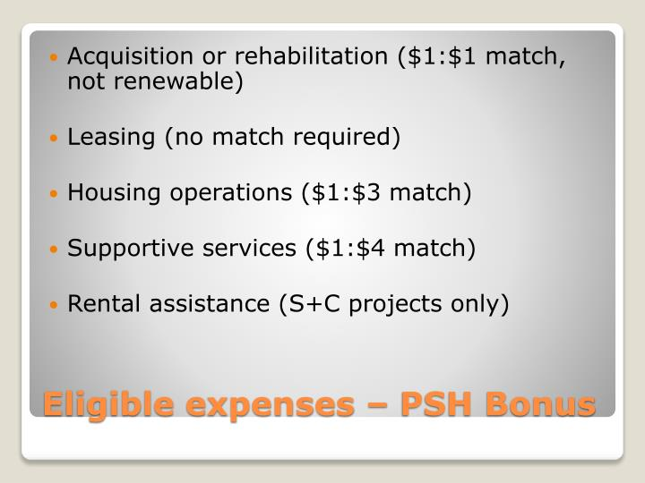 Acquisition or rehabilitation ($1:$1 match, not renewable)