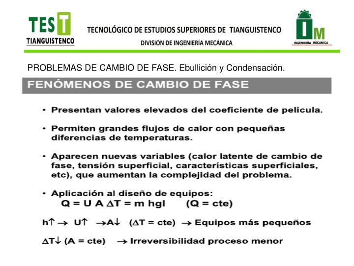 PROBLEMAS DE CAMBIO DE FASE. Ebullición y Condensación.