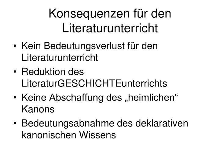 Konsequenzen für den Literaturunterricht