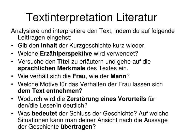 Textinterpretation Literatur