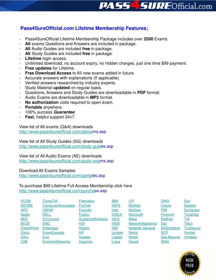 Pass4SureOfficial.com Lifetime Membership Features;