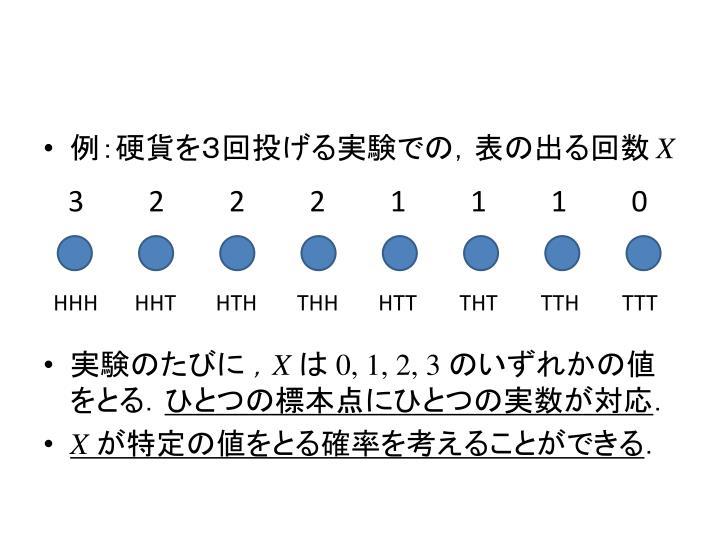 例:硬貨を3回投げる実験での,表の出る回数