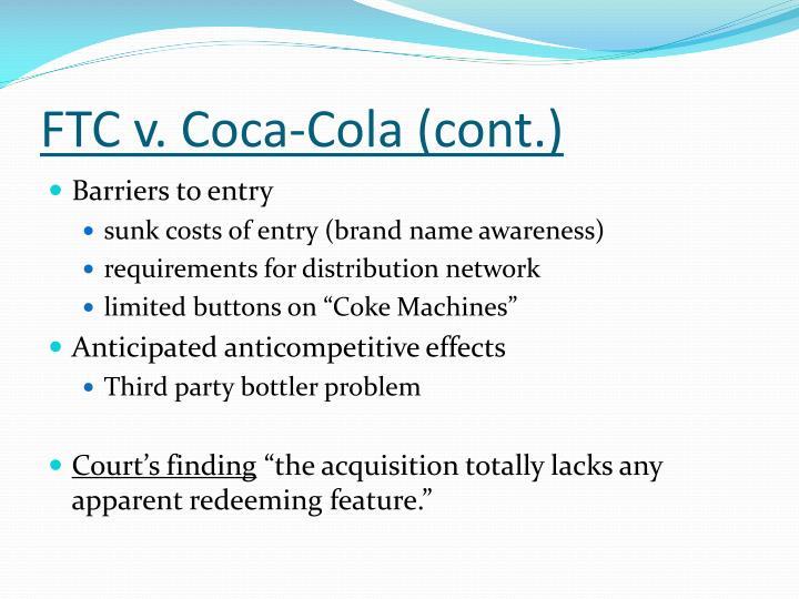 FTC v. Coca-Cola (cont.)