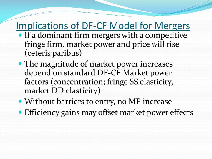 Implications of DF-CF Model for Mergers