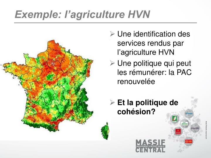Exemple: l'agriculture HVN
