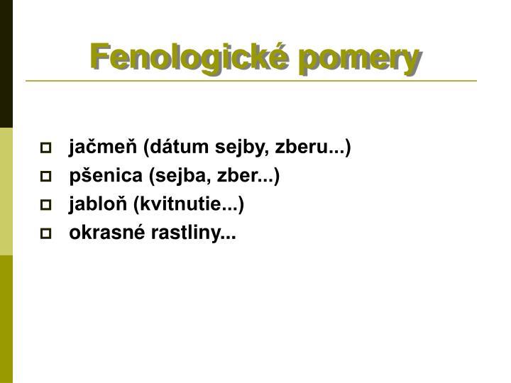 Fenologické pomery