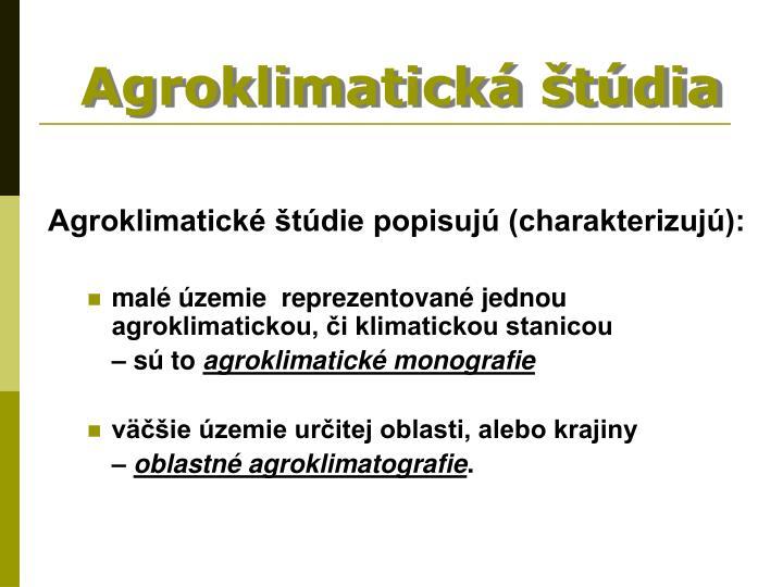 Agroklimatická štúdia