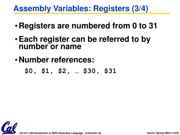 Assembly Variables: Registers (3/4)