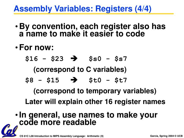 Assembly Variables: Registers (4/4)