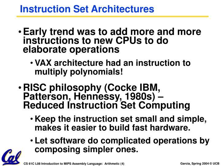 Instruction Set Architectures