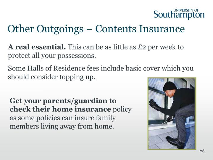 Other Outgoings – Contents Insurance