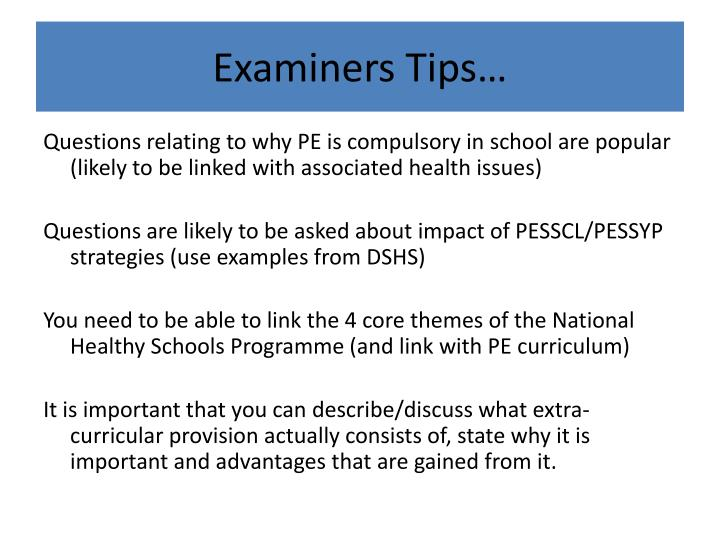 Examiners Tips…
