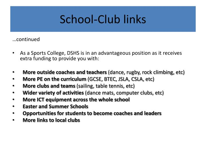School-Club links