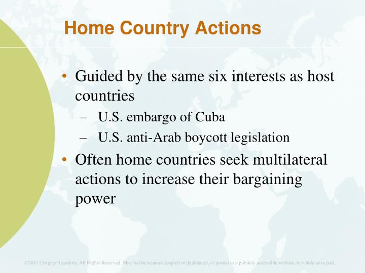 Home Country Actions