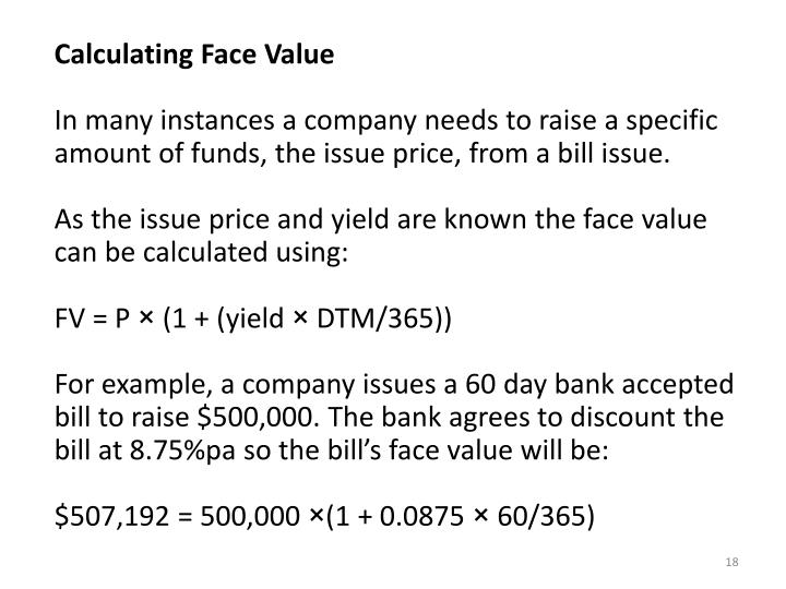 Calculating Face Value