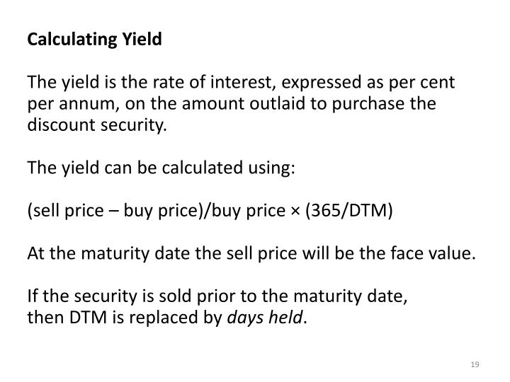 Calculating Yield
